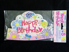 HAPPY BIRTHDAY HAT Crown Style Pack of 8 Girls Pink Flowers Butterflies