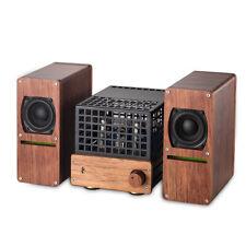 HiFi 6N6 Vacuum Tube Amplifier + Wooden Speakers Mini Stereo Class AB Power Amp