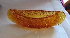 FENTON Amber Art Glass Daisy & Button Canoe Candy Dish