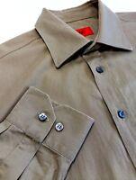 Hugo Boss Red Label Mens Business Casual Shirt Khaki Green Cotton Sz L Designer