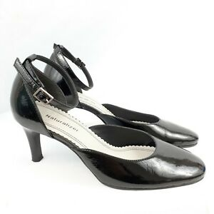 Naturalizer Size 7.5W Kennerley Black Patent Leather Pumps Ankle Strap Round Toe