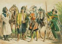 Darstellung europ. Reitervölker, 19. Jhd., kol. Kupferstich