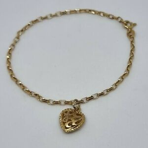 9ct Yellow Cable Chain With Heart Pendant Charm Bracelet Hallmarked