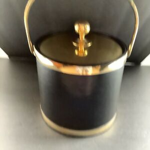 Vintage  Kraftware Ice Bucket Faux Black Leather  with Lid Mid Century Barware