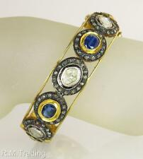 Victorian 16.63ct Genuine Diamond & Blue Sapphire 18K 925 Bangle Bracelet 51