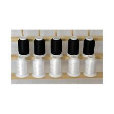 THREADELIGHT 5white/5black Cones Polyester Embroidery Bobbin Thread 60wt 1100yds