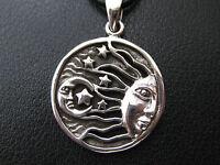 Sonne Mond und Sterne 925'er Silber Ketten Anhänger  / KA 780