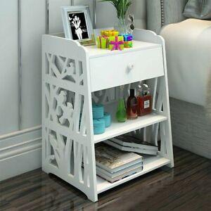 Bedside Table Cabinet Drawer Unit Storage Bedroom Nightstand Shelf Wooden White