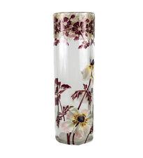 """Moser 11"""" Art Glass Vase hand painted enamel flowers, gilt Fluted pillar c1920"""