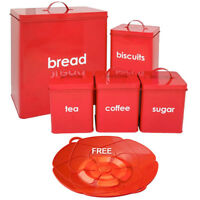 5PC METAL RED BREAD BIN STORAGE CANISTERS SET SUGAR COFFEE TEA ENAMEL COATED