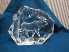 Mats Jonasson Crystal Moose In Woods Sculpture/Statue/Figurine 3566-