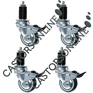 """Heavy Duty Catering Castors w/ Round Expander Fittings, 4-Pack (75-125MM/3/5"""")"""