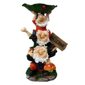 44cm  Gnome Bird Feeder with Welcome Garden Sign Figurine Statue Home Decor