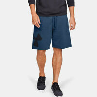 Under Armour Mens Rival Fleece Logo Shorts Pants Trousers Bottoms Blue Sports
