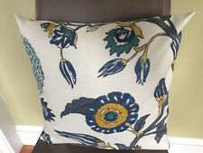 Decorative Pillow Cover Gray Off White Mustard Yellow Teal Large Floral Pattern