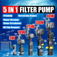 5 in 1 Aquarium Internal Filter Oxygen Submersible Water Pump For Fish Tank Pond