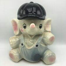 Vintage American Bisque Baby Elephant Cookie Biscuit Jar Baseball Cap USA 10""