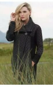 INIS CRAFTS MERINO WOOL GREY KNITTED CARDIGAN JACKET Size 12- 14 Uk