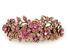 Metal Hair Barrette Clip Silver/Gold Rose Crystal Diamante Rhinestone Hair Clip