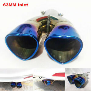 1PCS 63MM Inlet Car SUV Dual Exhaust Pipe Trim Tip Tail Muffler Stainless Steel