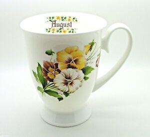 """August"" Bone China Royal Flower of the Month Mug"