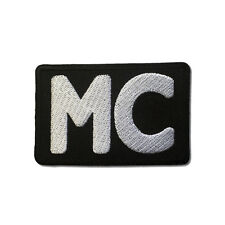 Embroidered White MC Motorcycle Club Sew or Iron on Patch Biker Patch