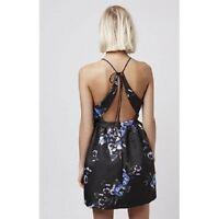 Gorgeous NEW sz 6 TOPSHOP NAVY BLUE FLORAL STRAPPY OPEN BACK DRESS