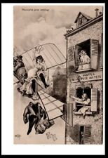 AD2418  SEXY WOMAN FLIES AWAY W. STOLEN WALLET FROM BORDELLO BY ORENS POSTCARD