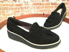 Clarks Black Suede Sharon Dasher Knotted Detail Slip-on Loafers Flats New