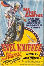 """EVEL KNIEVEL LONDON STUNT POSTER  8""""X6"""" METAL PLAQUE AS-56"""