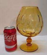 Large Amber Vase Goblet Snifter Hand Blown Glass Applied Stem Footed Vintage