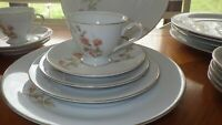 Vintage China Dinnerware set Always by NORLEANS service 6 gold trim 27 pieces