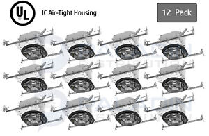 """Topaz 6"""" Inch New Construction Recessed Can Light Housing - IC AT E26 (12 Pack)"""