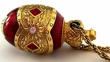 Joan Rivers Gold Tone Red Enamel Red Clear Stone Faberge Egg Charm Necklace