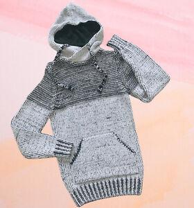 Herren Pullover Strick Dicke Wolle Gr. S Small Hoodie Winter Warm Grau Schwarz
