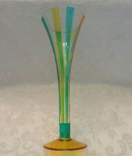 """Vintage Mouth Blown Fluted Clear,Gold and Aqua 10"""" Glass Vase - ROMANIA"""