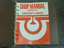 1986 Honda Models HS55K1 & HS80 Snowblower Shop Service Repair Manual Book