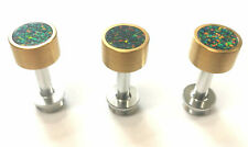 More details for satin gold trumpet finger buttons with green-orange synthetic opal for besson