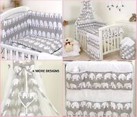 GREY ELEPHANT BABY BEDDING SET COT COT BED 3,5,9 Pieces COVER BUMPER CANOPY+more