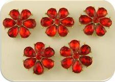 2 Hole Beads Happy Flowers w/Red Siam Swarovski Crystal Elements ~ Sliders QTY 5