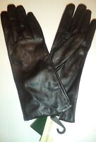 Ladies  100% Cashmere Lined Leather Gloves,Black