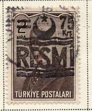 Turkey 1955-56 Issue Fine Used 75k. Optd Resmi Star & Crescent Surcharged 085560