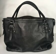 d231a9c9e5 Heshe Womens Leather Shoulder Handbag  File Tote Large in Black Pebble  Leather