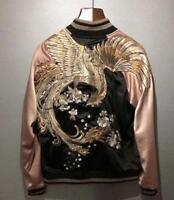 2018 Mens Japanese Embroidered Sukajan Souvenir Jacket Bomber Vermilion Birds Sz