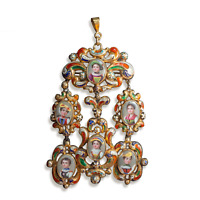 Antique Swiss enamel family portrait pin and pendent
