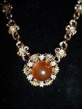 Rhinestone Crystal Gold Tone Necklace Summer Weding Vintage Antique Choker