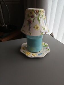 Yankee Candle Large Shade And Tray Beautiful Floral Design In Immaculate...