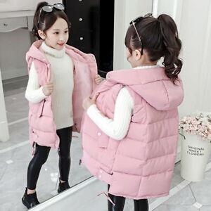 Kids Girls Vest Bodywarmer Gilet Padded Thick Sleeveless Jacket Hooded Coat Vest