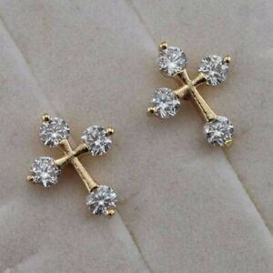 Lovely Nice Cross White CZ Gems Jewelry Yellow Gold Filled Stud Earrings h2952