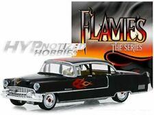 GREENLIGHT 1:64 1955 CADILLAC FLEETWOOD SERIES 60 SPECIAL BLACK W/ FLAMES 30105